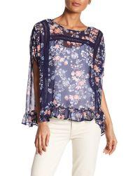 Bobeau - Floral Crochet Lace Inset Blouse - Lyst