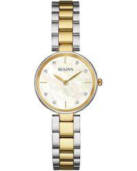 Bulova - Women's Diamond Accent Two-tone Stainless Steel Bracelet Watch 27mm 98p146 - Lyst