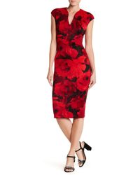 Connected Apparel | Floral Cap Sleeve Dress | Lyst