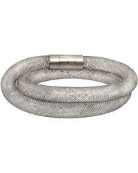 Swarovski Stardust Stainless Steel Crystal Filled Mesh Deluxe Bracelet - White