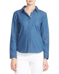 Cece by Cynthia Steffe - Long Sleeve Denim Shirt - Lyst