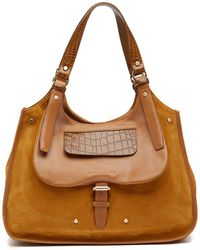 Longchamp - Blzane Croc-embossed Suede Shoulder Bag Hobo - Lyst