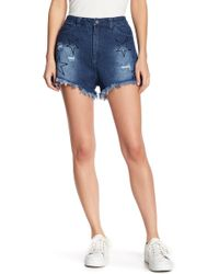 Lush - Star Embroidered High Waist Shorts - Lyst