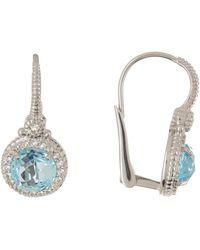 Judith Ripka - Sterling Silver La Petite Round Stone Drop Earrings - Lyst