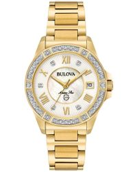 Bulova - Women's Marine Star Diamond Bracelet Watch, 32mm - 0.025 Ctw - Lyst