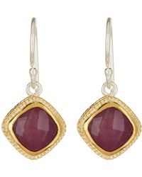 Anna Beck - 18k Gold Plated Sterling Silver Ruby Cushion Drop Earrings - Lyst