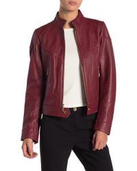 MICHAEL Michael Kors - Zip Front Scuba Leather Jacket - Lyst
