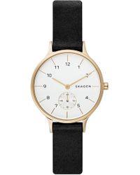 Skagen - Women's Anita Leather Strap Watch, 34mm - Lyst