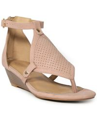 d2a15aa7d810a Lyst - Sam Edelman Romy Patent Leather Wedge Sandal in Brown