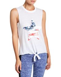 Warrior by Danica Patrick Active - Star Graphic Tie Front Tank - Lyst