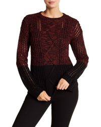Dex - Colorblock Cable Knit Sweater - Lyst