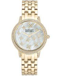 Badgley Mischka Women's Swarovski Crystal Accented Analog Bracelet Watch, 36mm - Metallic