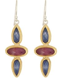 Anna Beck - 18k Gold Plated Sterling Silver Mixed Stone Drop Earrings - Lyst