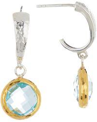 Gurhan - 24k Gold & Sterling Silver Two-tone Blue Topaz Galapagos Hoop Earrings - Lyst