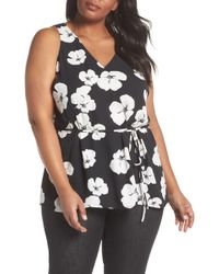 Sejour - Tie Waist Sleeveless Top (plus Size) - Lyst