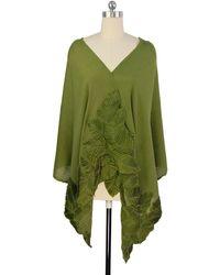 Saachi - Forest Green Beaded Leaf Wool Wrap - Lyst