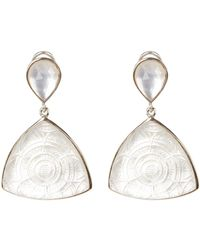 Stephen Dweck - Sterling Silver Trillion-cut Mother Of Pearl Carved Drop Earrings - Lyst