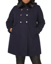 Dorothy Perkins - Dolly Double Breasted Jacket With Faux Fur Collar (plus Size) - Lyst