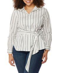 REBEL WILSON X ANGELS - Wrap Tie Stripe Shirt (plus Size) - Lyst