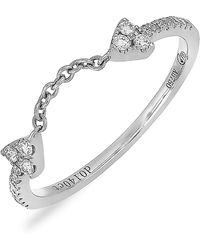 Bony Levy - 18k White Gold Diamond Open Chain Ring - 0.14 Ctw - Lyst