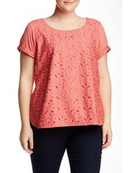 Halo - Lace Front Tee (plus Size) - Lyst