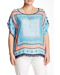 Halo - Open Sleeve Printed Woven Blouse (plus Size) - Lyst