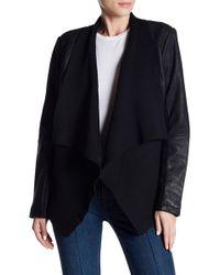 Tahari | Leather Drape Knit Jacket | Lyst