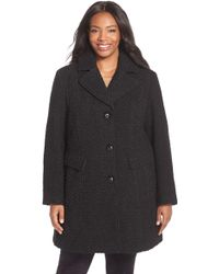 Gallery - Wool Blend Basket Weave Notch Collar Coat (plus Size) - Lyst
