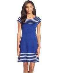 Eliza J - Stripe Knit Flared Dress - Lyst
