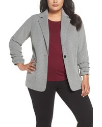 Vince Camuto - Ruched Sleeve Mini Houndstooth Jacket (plus Size) - Lyst