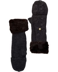 Ivanka Trump - Faux Fur Cable Knit Gloves - Lyst