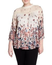 Lucky Brand - Floral Print Mixed Media Blouse (plus Size) - Lyst