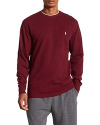 Polo Ralph Lauren - Collegiate Waffle Knit Long Sleeve Crew Neck Tee - Lyst