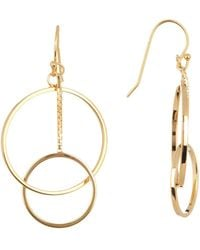 Argento Vivo - 18k Gold Plated Sterling Silver Double Circle Link Drop Earrings - Lyst