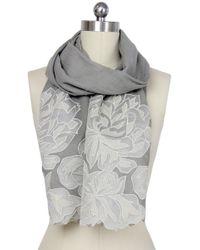 Saachi - Oyster Grey Royal Garden Lace Border Wool Wrap - Lyst
