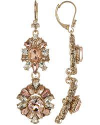 Marchesa - Crystal Flower Double Drop Earrings - Lyst