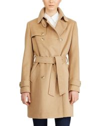 Lauren by Ralph Lauren - Wool Blend Trench Coat - Lyst