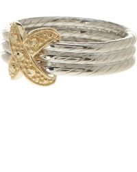 Liberty - Sterling Silver & Gold Plated X Stacked Ring - Lyst
