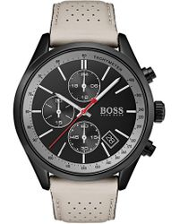 507da8276 BOSS Chronograph Grand Prix Brown Leather Strap Watch 44mm in Brown ...
