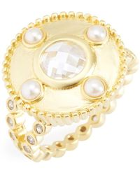 Freida Rothman - 14k Gold Plated Sterling Silver Audrey Cz & 2.5mm Freshwater Pearl Studded Cocktail Ring - Size 6 - Lyst