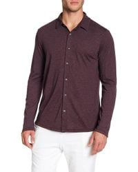 Velvet By Graham & Spencer - Heather Jersey Long Sleeve Button Down Shirt - Lyst