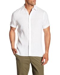 Perry Ellis - Solid Linen Short Sleeve Shirt - Lyst