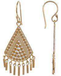 Anna Beck - 18k Gold Plated Sterling Silver Textured Triangle Fringe Drop Earrings - Lyst