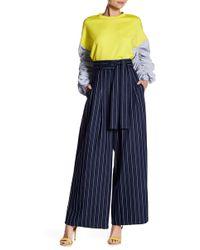 Gracia - High Waisted Stripe Wide Leg Pants - Lyst