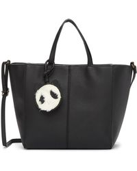 T-Shirt & Jeans - Tote Bag With Faux Fur Panda Charm - Lyst