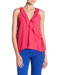 0d62a5df09e9d Naked Zebra - Ruffled And Wrapped Sleeveless Blouse - Lyst