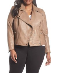 Sejour - Leather Moto Jacket (plus Size) - Lyst