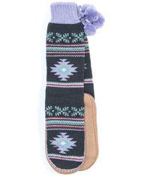Muk Luks - Slipper Socks With Pompoms - Lyst
