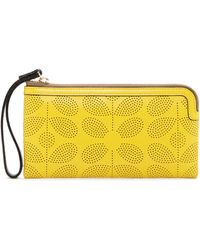 Orla Kiely - Flat Zip Sixties Stem Punched Leather Wristlet - Lyst
