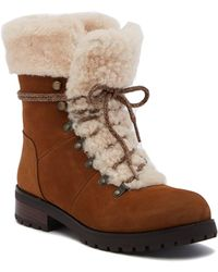 478c76374f92 Lyst - Ugg Fraser Shearling And Suede Combat Booties in Brown